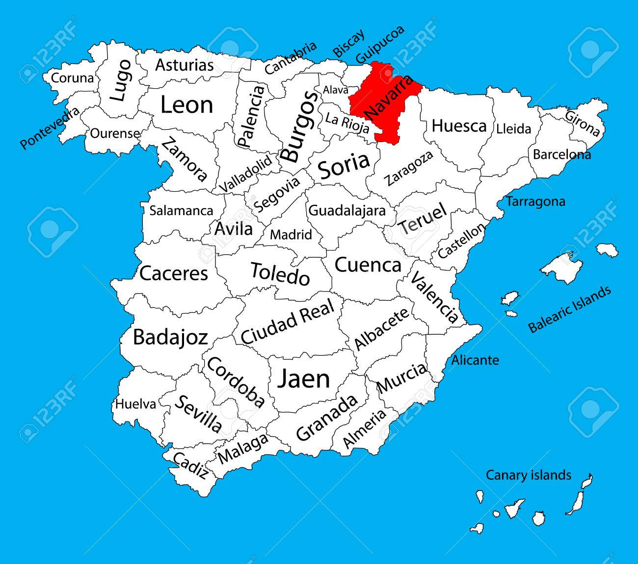 Navarra Map, Spain Province Vector Map. High Detailed Vector
