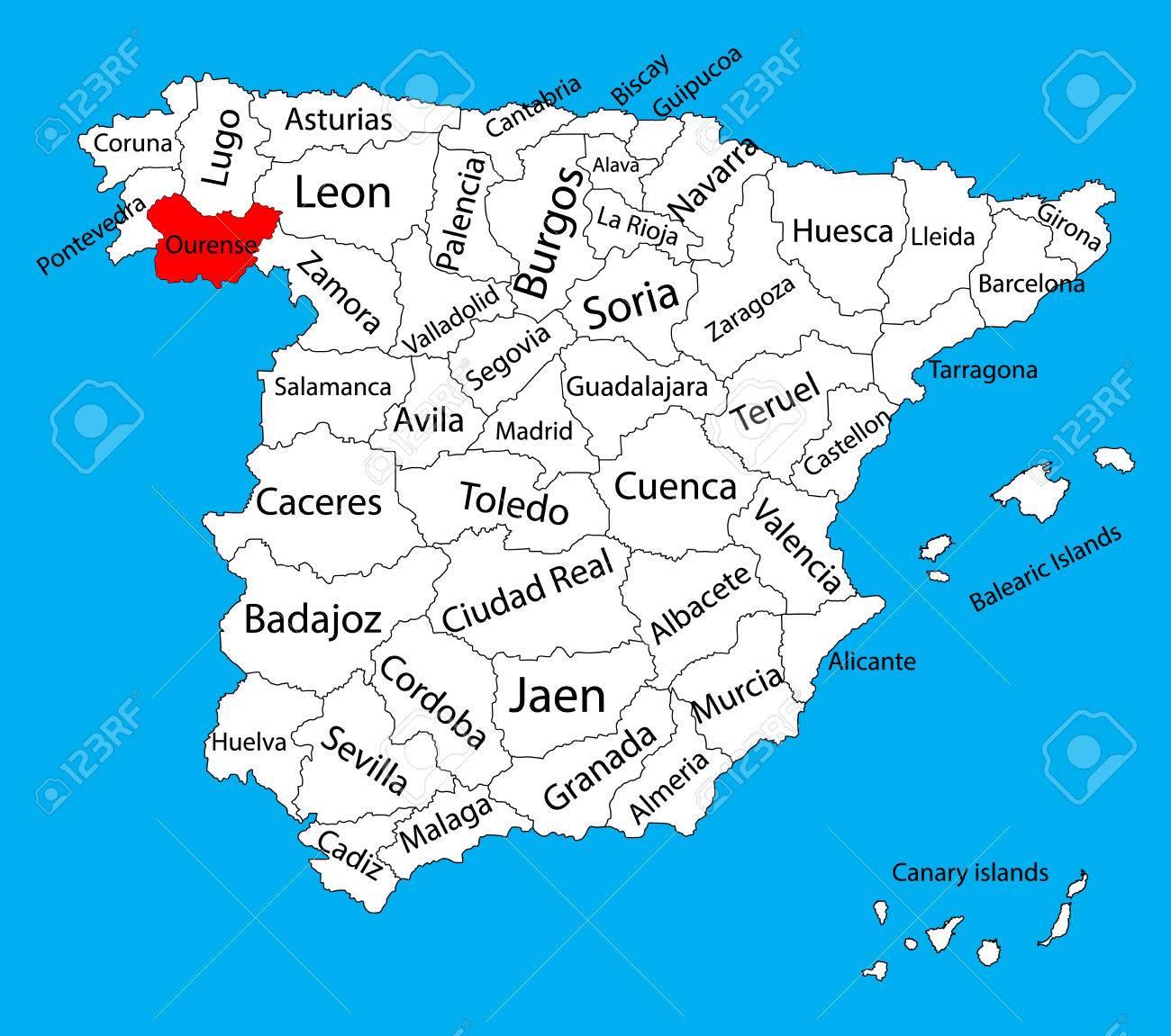 Mapa De Orense Mapa Vectorial De La Provincia De Espana Alto