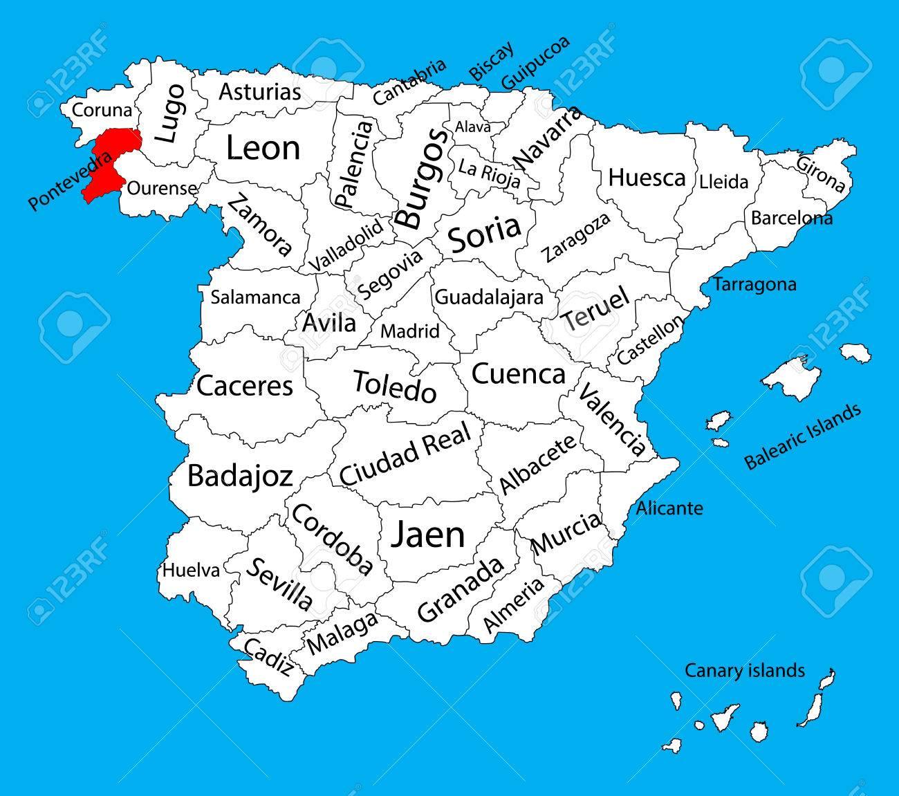 Mapa De Pontevedra Provincia.Pontevedra Mapa Espana Mapa Vectorial De La Provincia Alto Mapa De Vectores Detallados De Espana Con Regiones Separadas Aisladas Sobre Fondo Mapa