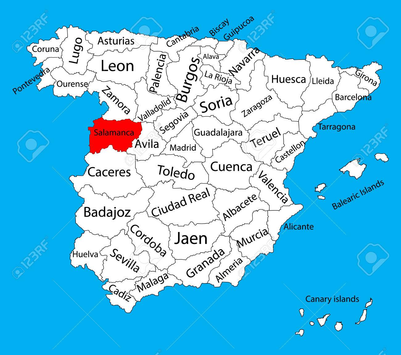 salamanca mapa Salamanca Mapa, España Mapa Vectorial De La Provincia. Alto Mapa  salamanca mapa
