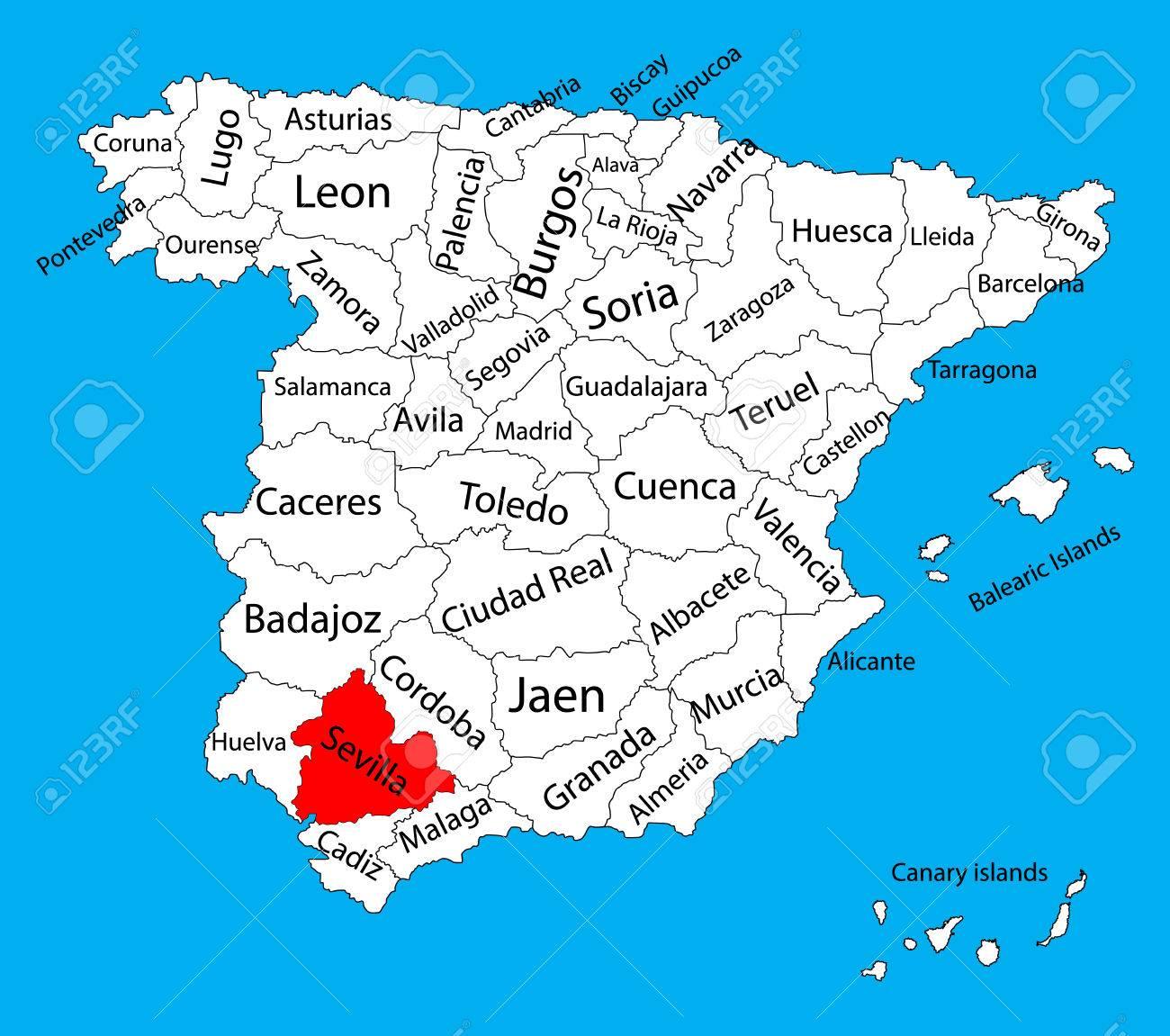 Provincia De Sevilla Mapa.Mapa De Sevilla Espana Mapa Vectorial De La Provincia Alto Mapa De Vectores Detallados De Espana Con Regiones Separadas Aisladas Sobre Fondo Mapa