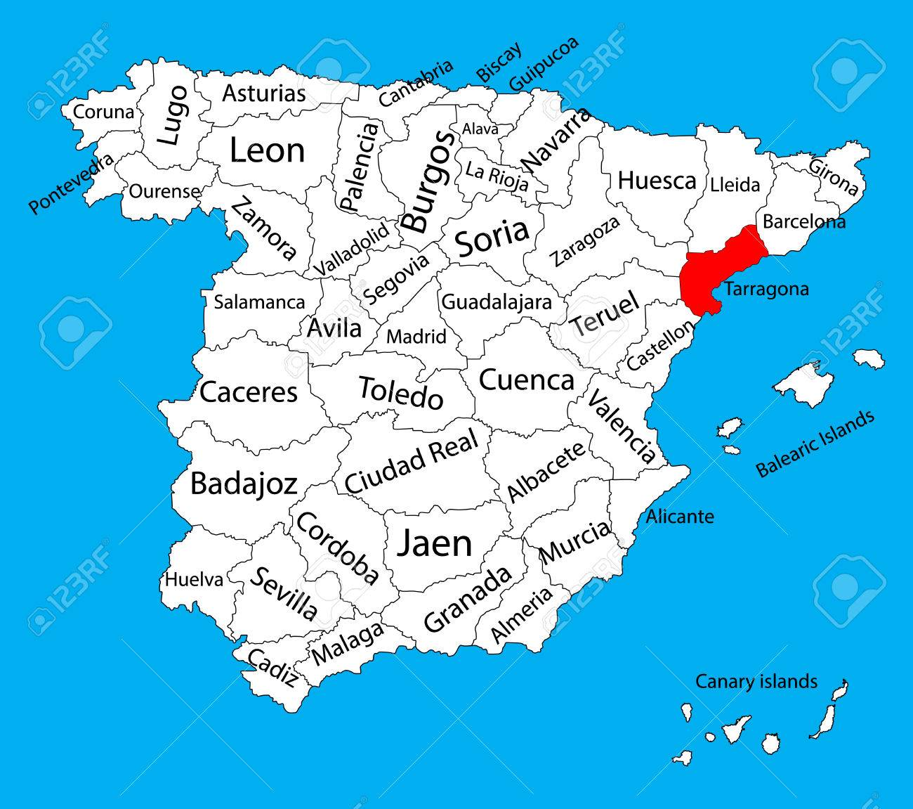 Tarragona Map, Spain Province Vector Map. High Detailed Vector ...
