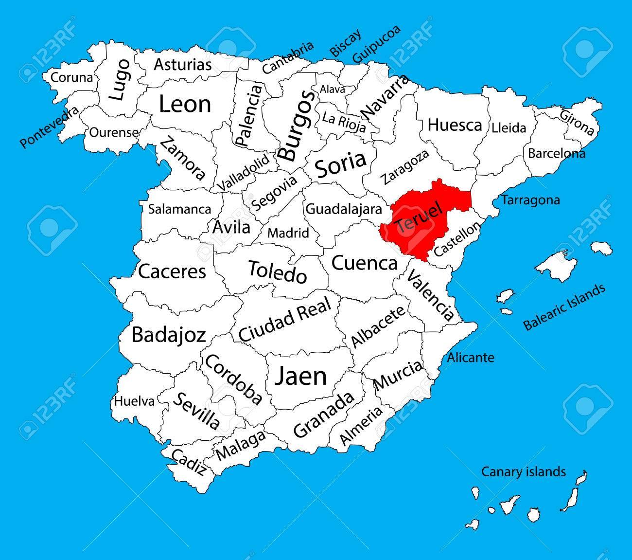 Provincia De Teruel Mapa.Mapa De Teruel Mapa Del Vector De La Provincia De Espana Alto Mapa Detallado Del Vector De Espana Con Regiones Separadas Aisladas En El Fondo Mapa