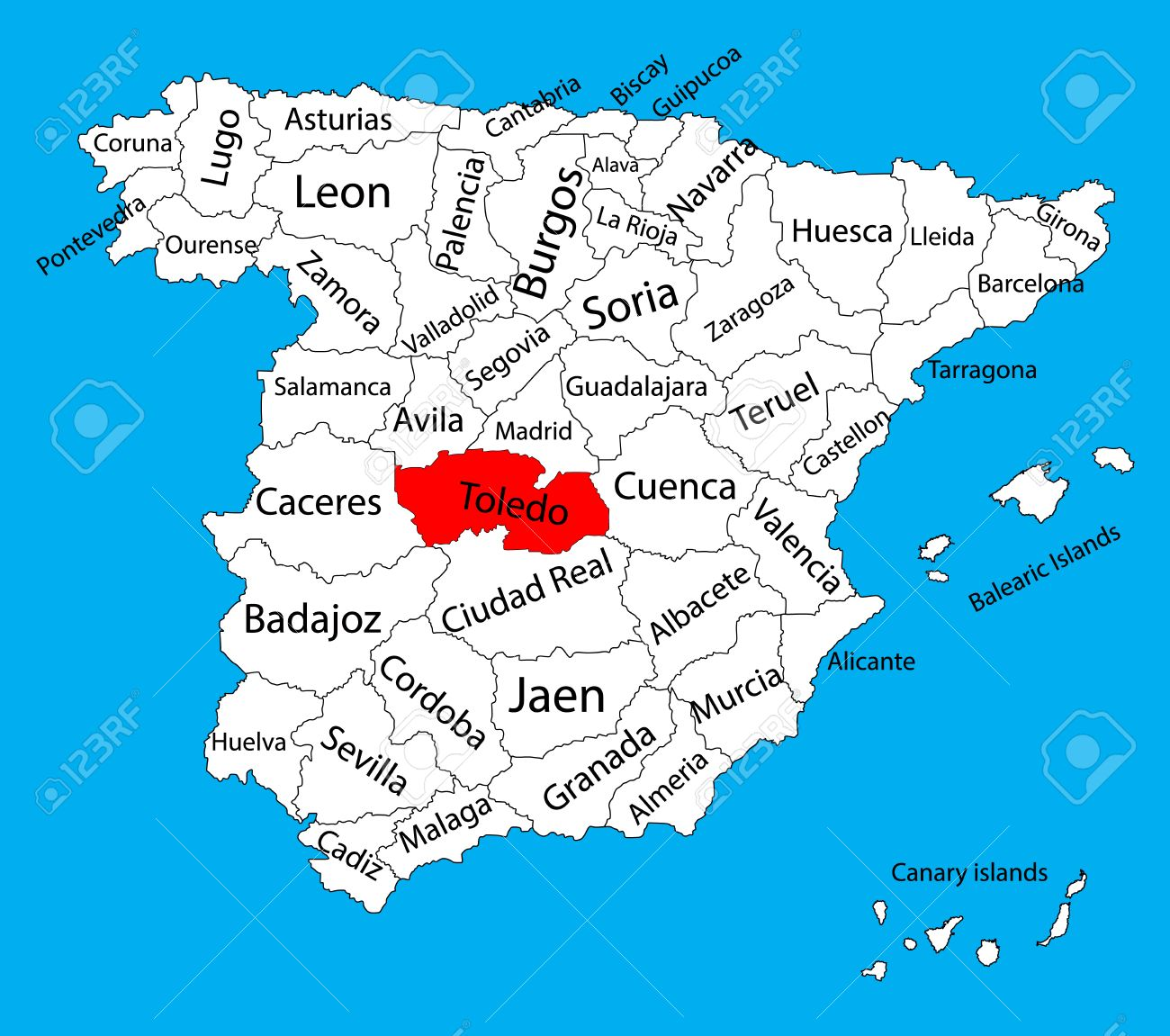Toledo Map, Spain Province Vector Map. High Detailed Vector Map