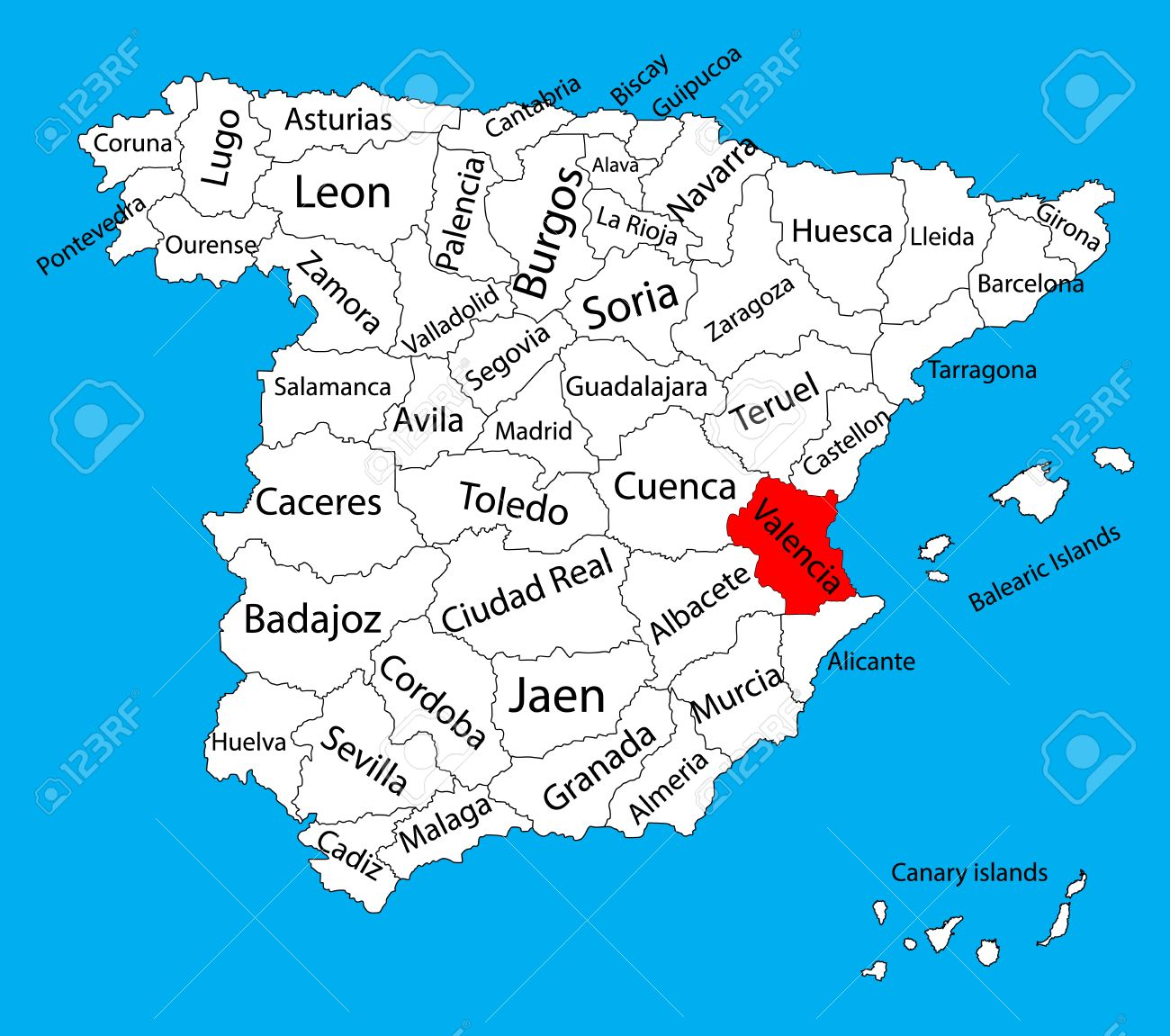 Valencia Spain Map Valencia Map, Spain Province Vector Map. High Detailed Vector