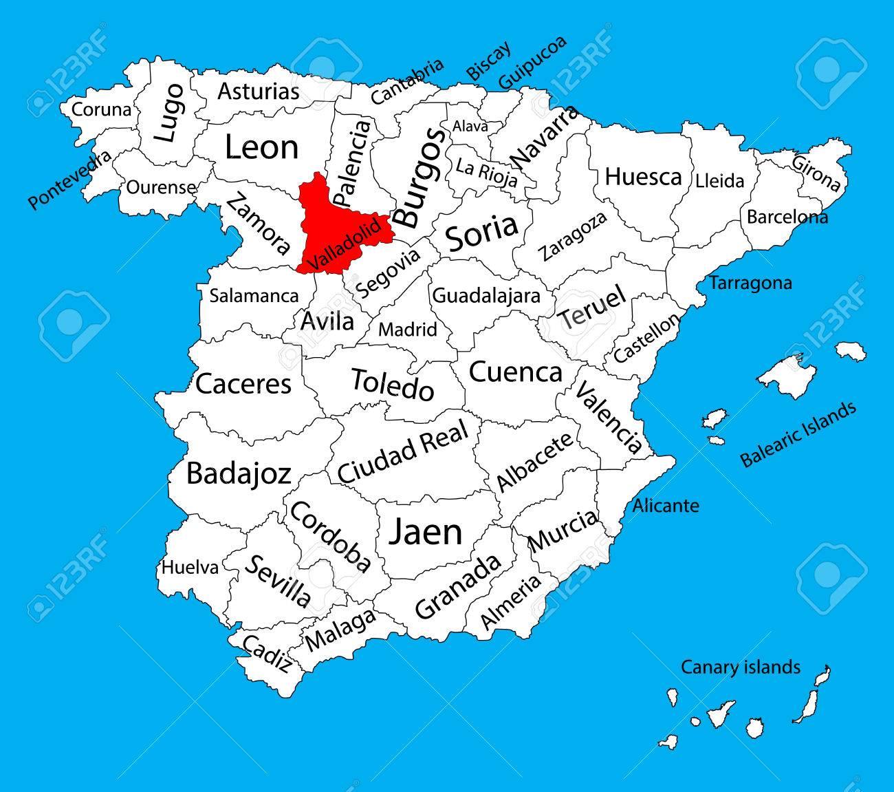 Provincia De Segovia Mapa.Valladolid Mapa Espana Mapa Vectorial De La Provincia Alto Mapa De Vectores Detallados De Espana Con Regiones Separadas Aisladas Sobre Fondo Mapa