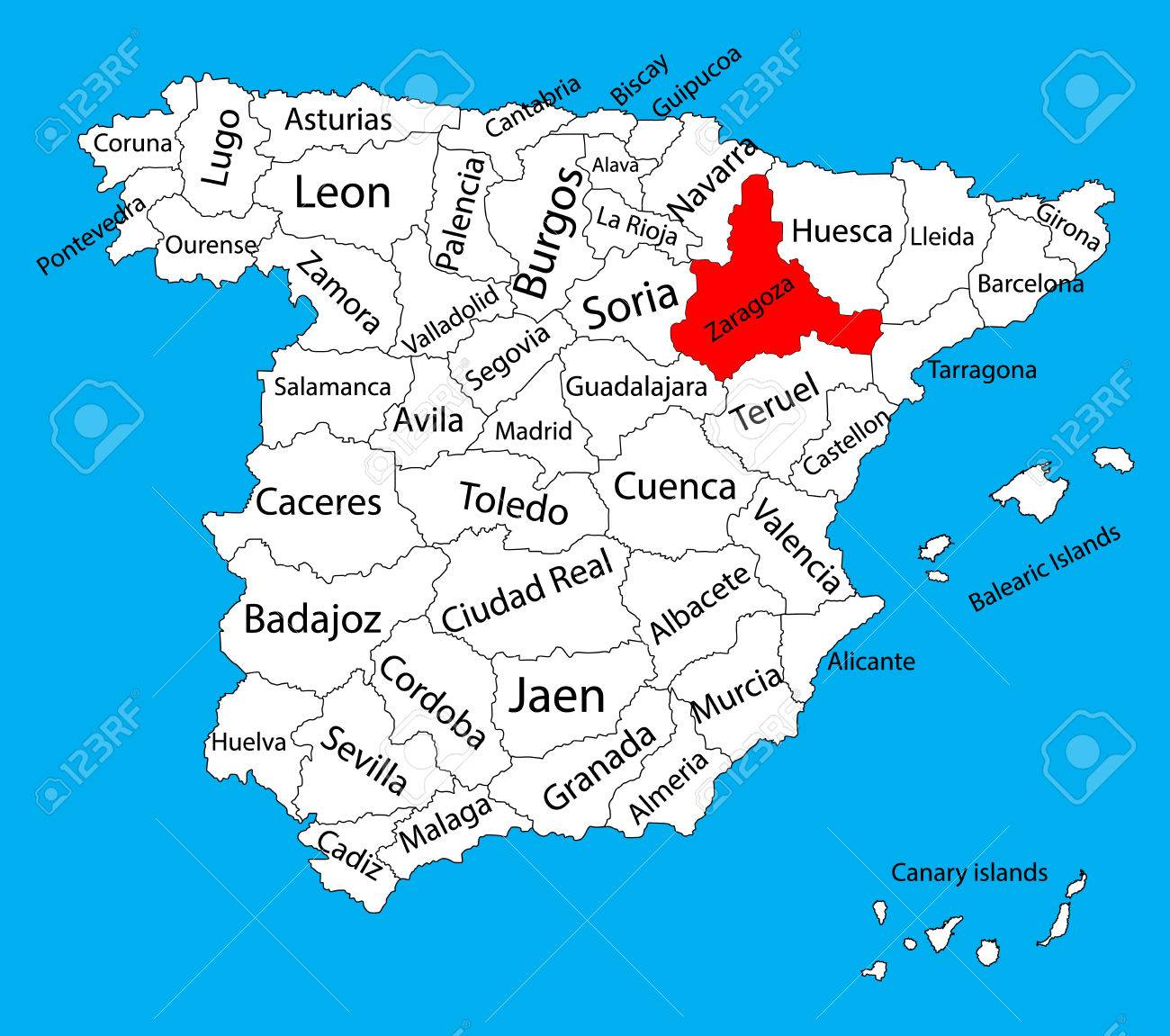 Zaragoza Map, Spain Province Vector Map. High Detailed Vector