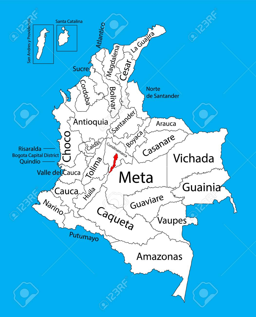 Vector Map Of Region Of Bogota, Distrito Capital, Colombia Editable ...