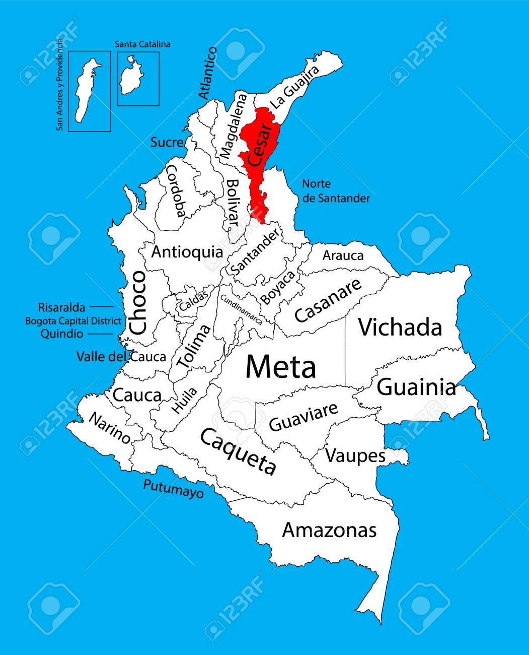 Vector Map Of Region Of Cesar Colombia Editable Vector Map