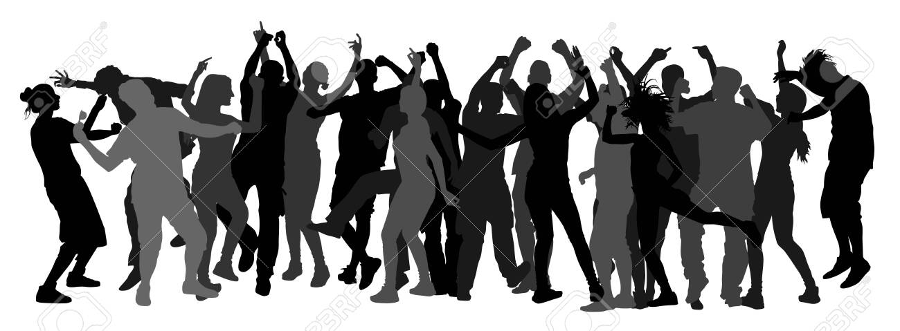 Party dancer people, girls and boys vector silhouette illustration. Nightlife party concept with crew dancing. Disco club event. Birthday celebration. Teenagers in good mood. Fun and entertainment. - 128225905
