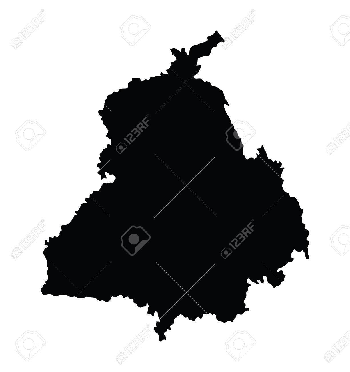 Carte Inde Punjab.Punjab Inde Carte Vectorielle Isole Sur Fond Blanc Illustration De Haute Silhouette Detaillee