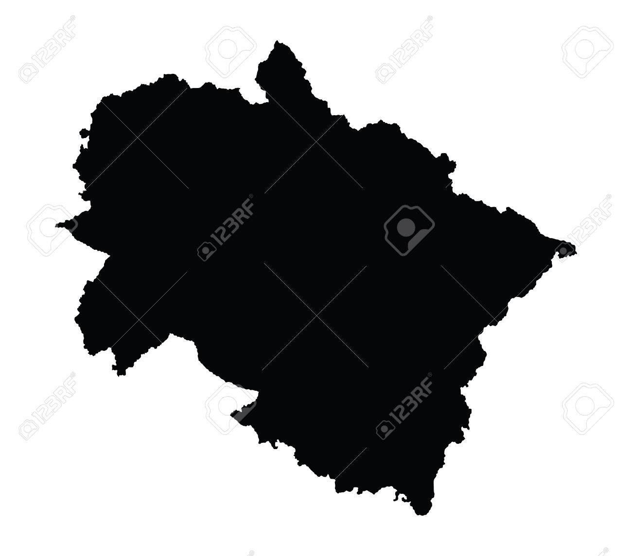 Uttarakhand, India, vector map isolated on white background...
