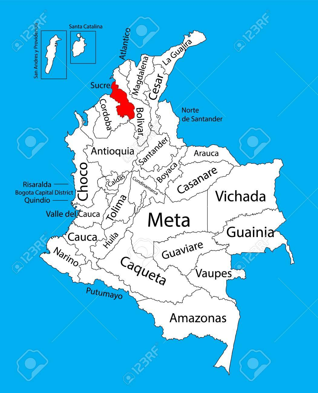 Vector Map Of Region Of Sucre Colombia Editable Vector Map