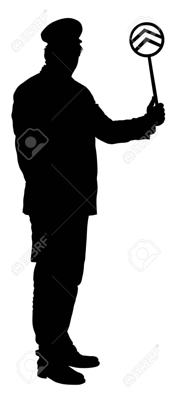 Railroader in uniform vector silhouette. Railway man on duty. Platform controller at a steam railway station. Railway worker traffic controller giving a signals to the train crew. Metro travel concept - 128226075