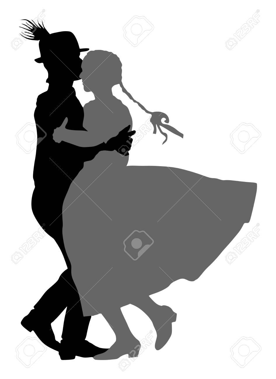 Hungarian folk dancers couple vector. Germany folk dancers couple. Austrian folk dancers couple. East Europe folklore. Couple in love dancing Balkan folk. - 89179202