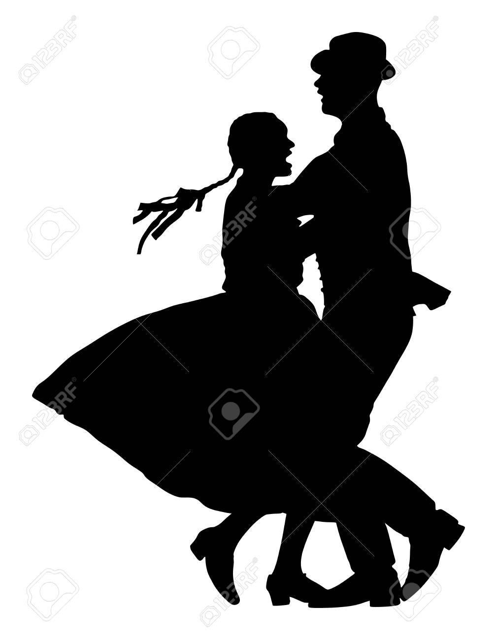 Couple dancer silhouette. - 89615304