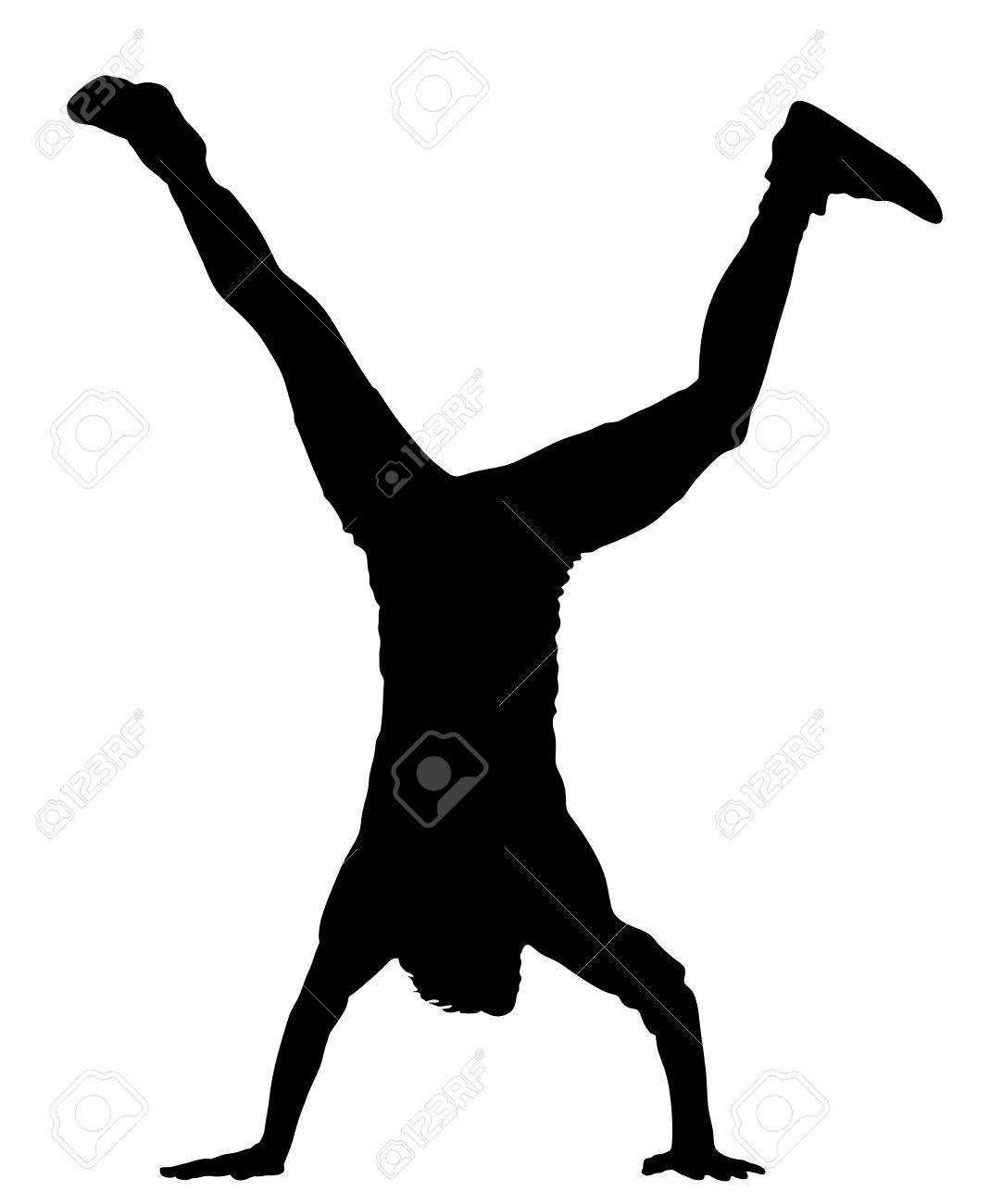 young man doing cartwheel sportsman in handstand position vector rh 123rf com