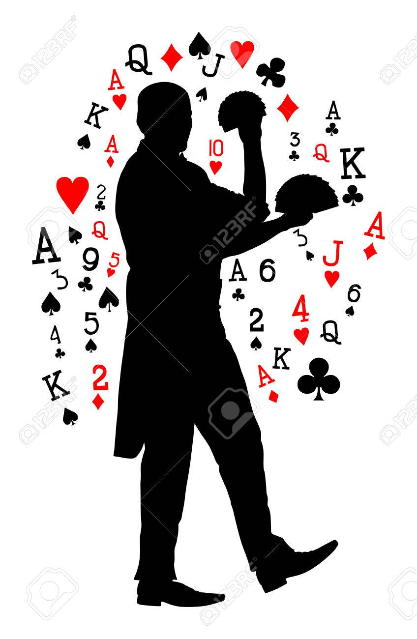 Magician performing trick with cards vector silhouette illustration isolated on white background. Magic performer illusionist. - 80935117