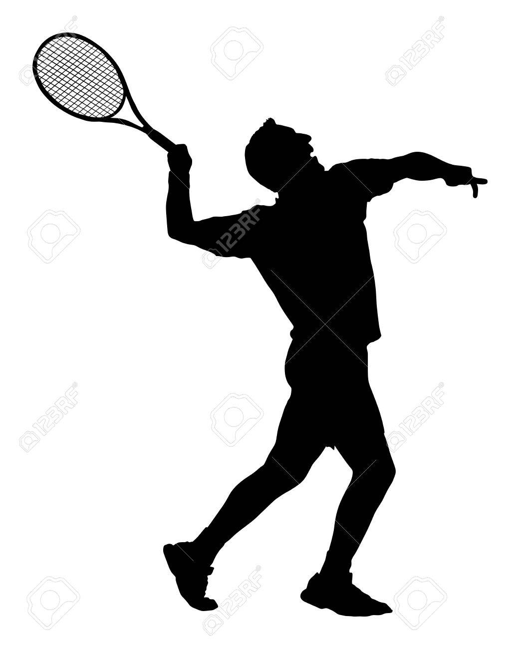 4a26b1de91d Banque d images - Silhouette de vecteur tennis joueur homme isolé sur fond  blanc. Silhouette de tennis de sport isolée.