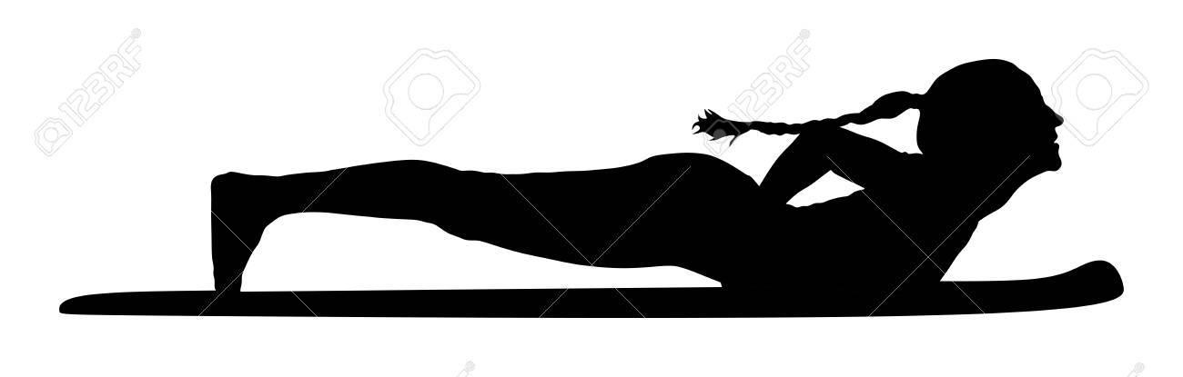 Woman Exercises Yoga Yoga Pose Vector Silhouette Illustration