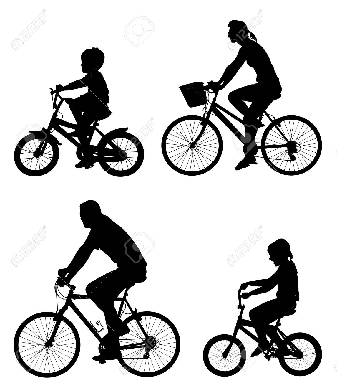 Happy family riding bicycle together, vector silhouette. Little boy and girl riding bicycle with parents. Mother and father with kids outdoor enjoying in bike driving. Biker family. Electric bike. - 123764605
