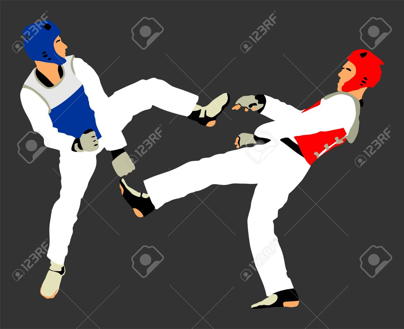 Fight between two taekwondo fighters vector illustration isolated