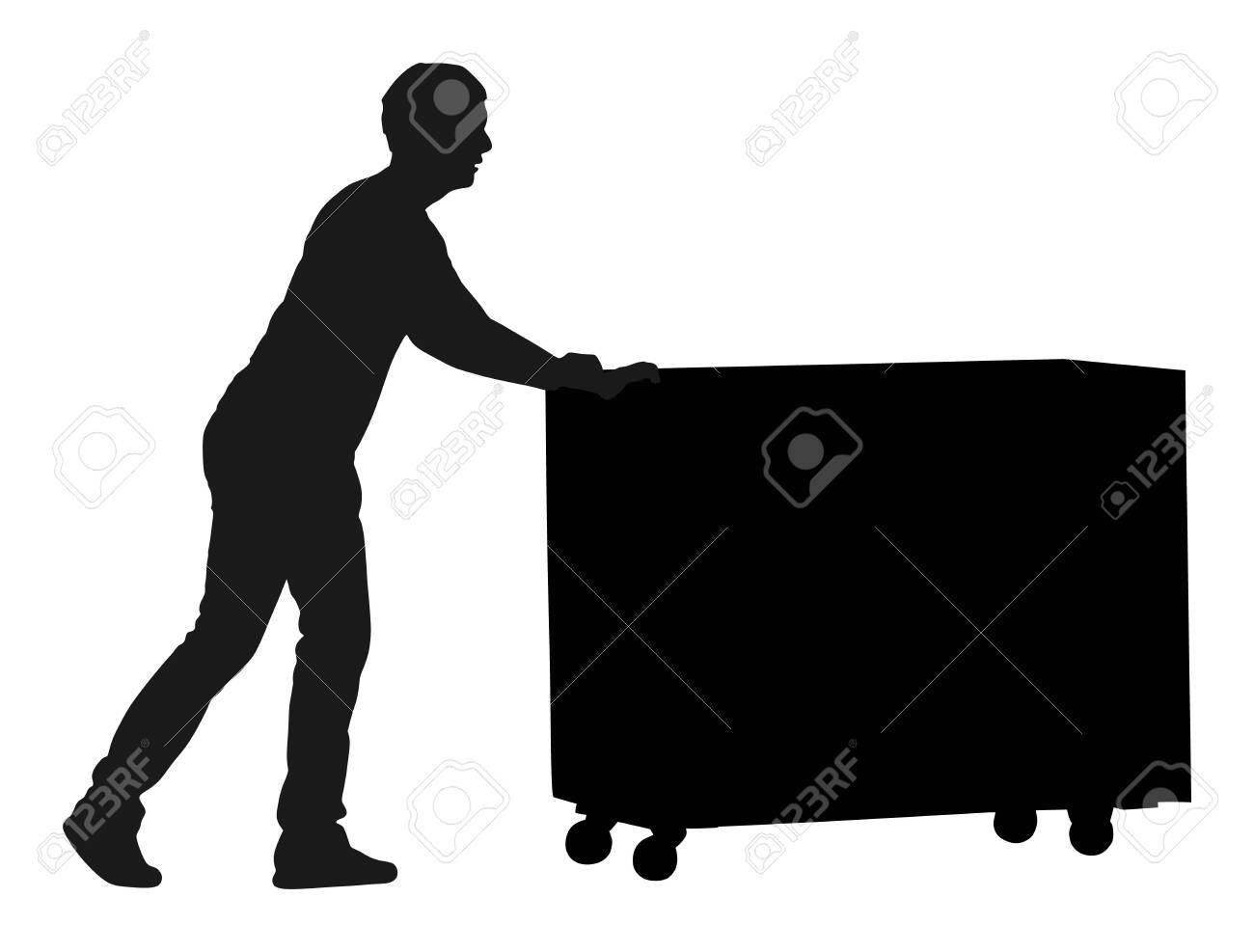 Hard worker pushing wheelbarrow and carry big box vector silhouette illustration isolated on white background. Delivery man moving package by cart. Service moving transport. Warehouse job activity. - 129236981