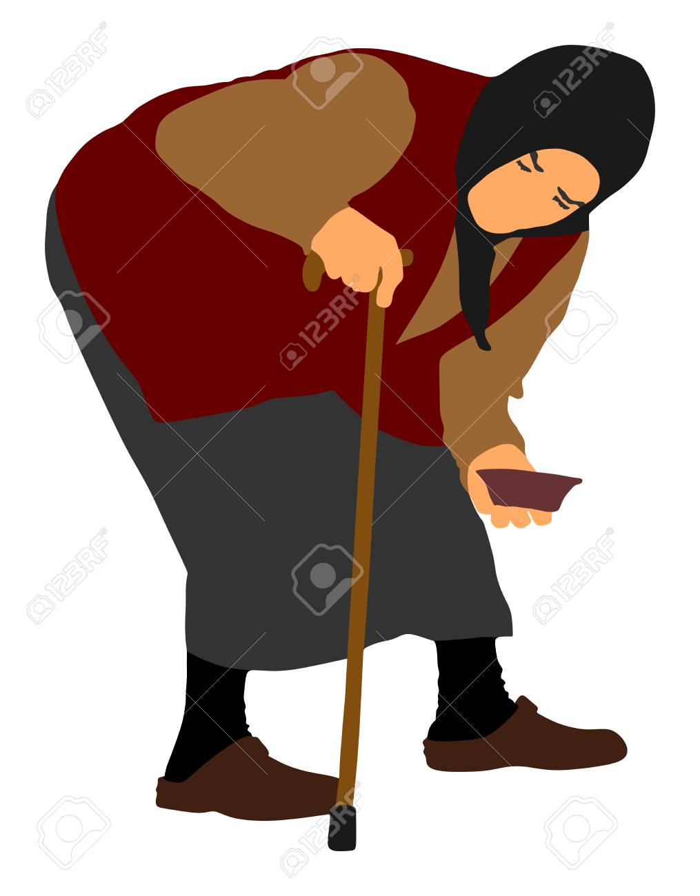 Homeless beggar on a street vector illustration  Senior person