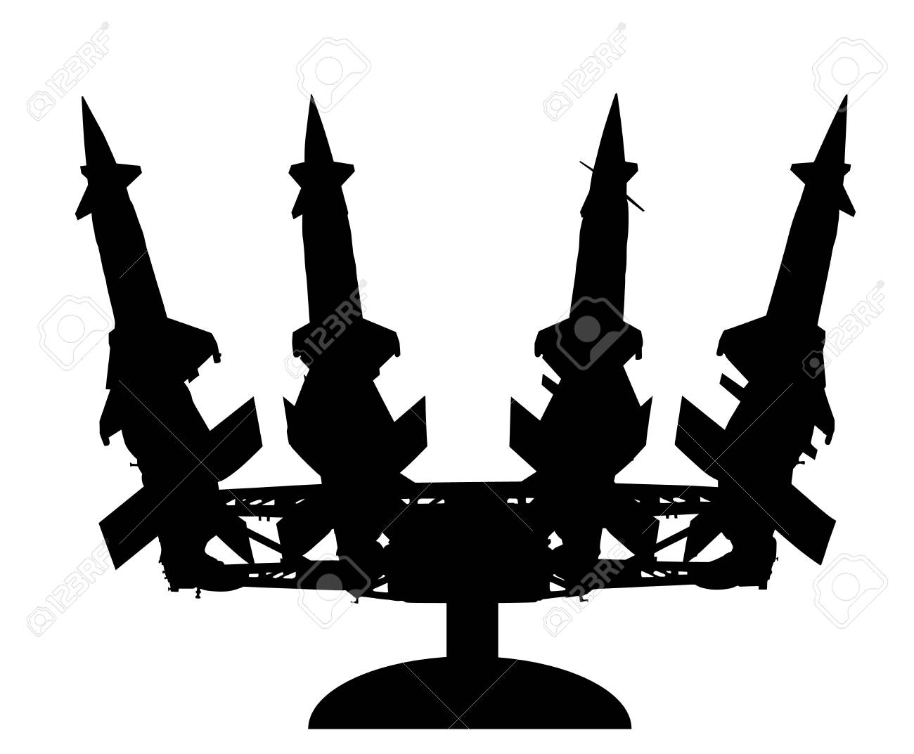 Artillery rocket launcher vector silhouette illustration. Rocket carrier platform with nuclear bomb. Nuclear test, war treat. Bomb air projectile attack. Powerful weapons. War destruction. - 96202280
