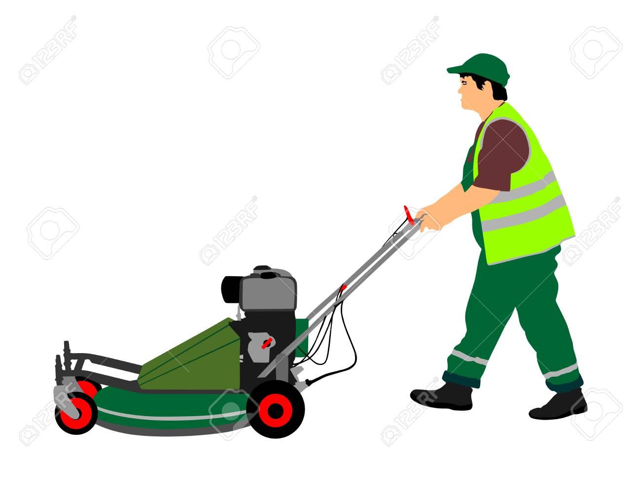 Gardener man mowing lawn mower vector illustration. Grass trimmer cutting. Professional garden worker. - 97334013