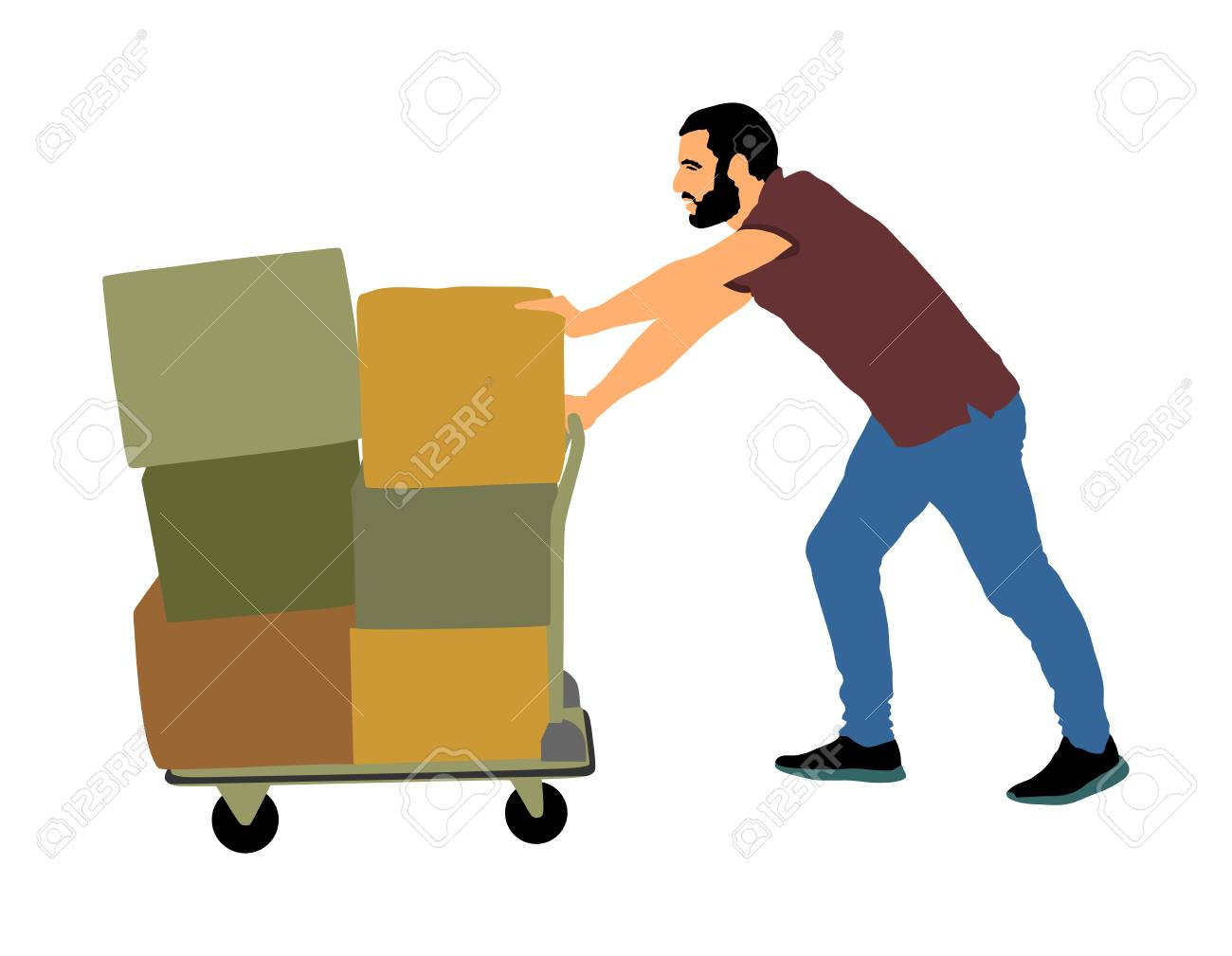 Hard worker pushing wheelbarrow and carry big box vector illustration isolated on white background. Delivery man moving package by cart. Service moving transport. Warehouse job activity. - 100035776