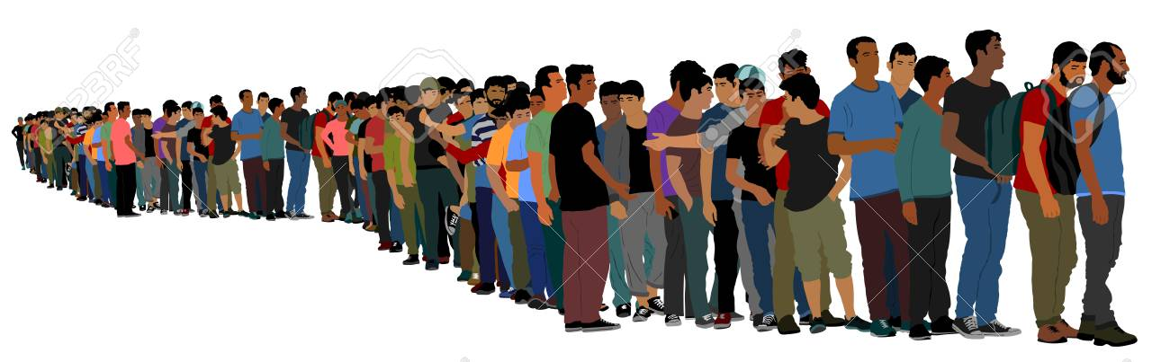 Group of people waiting in line vector isolated on white background. Group of refugees, migration crisis in Europe. Turkey war migration waves going through Schengen Area. Border situation in EU. - 113299540