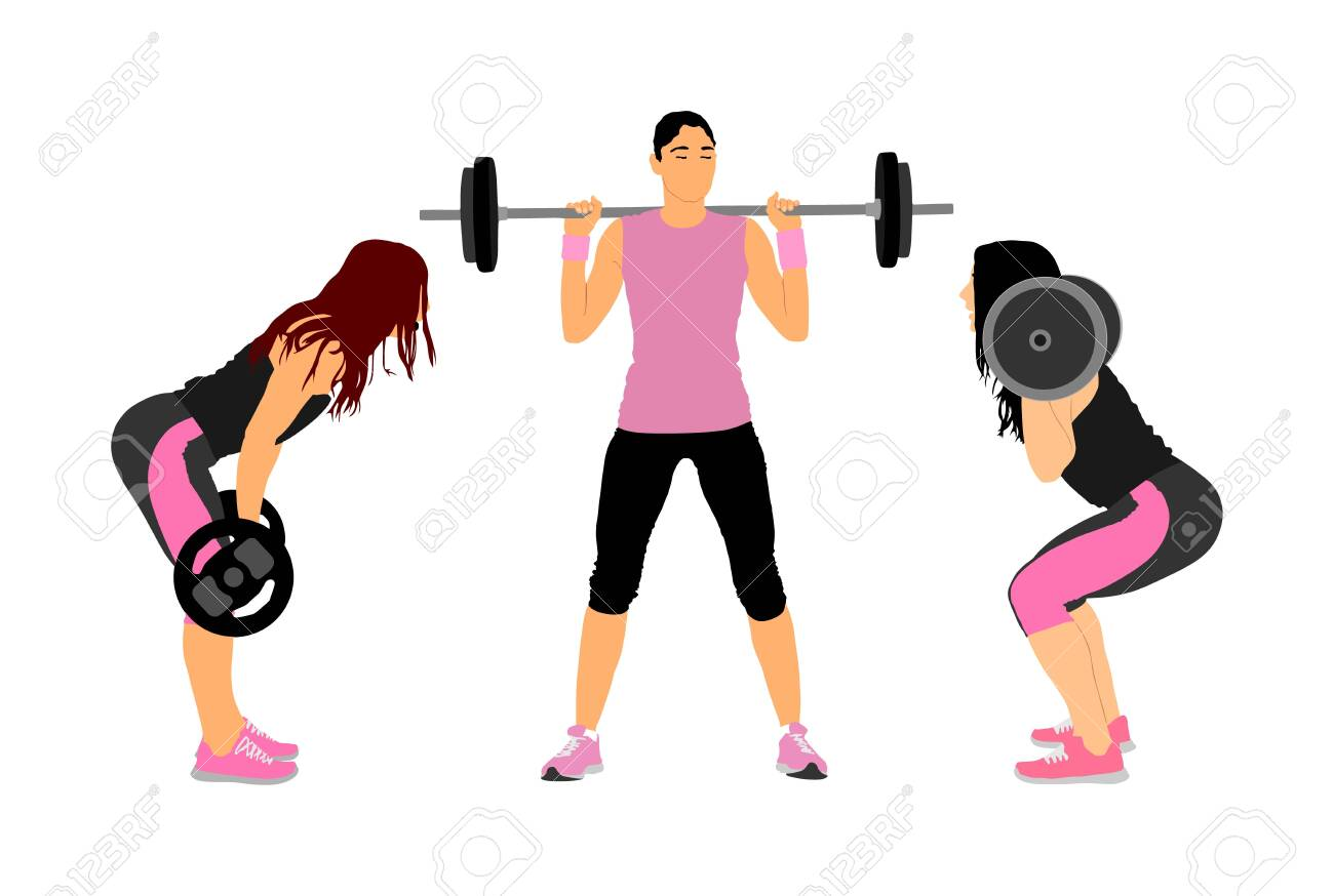 Sport bodybuilding. Young woman with barbell flexing muscles and making shoulder press squat in gym vector illustration. Weightlifter, bodybuilder training. Personal trainer workout. Fit lady exercise - 129272028