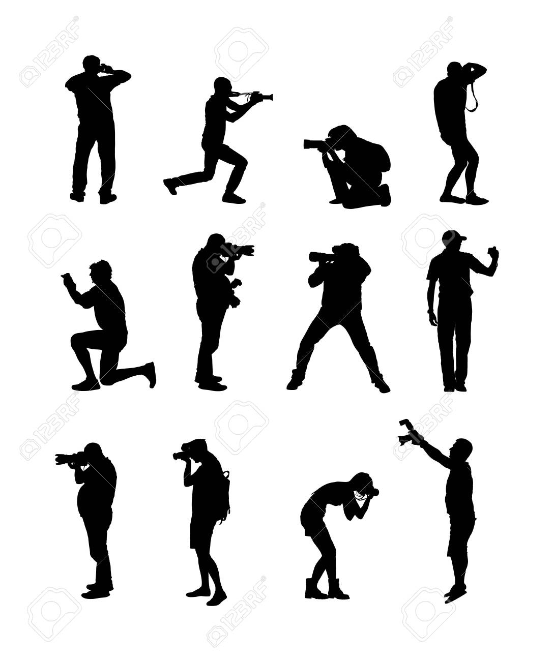 Collection of photographer with camera vector silhouette. Paparazzi shooting movie star event. Photo reporter on duty. Sport photography. Journalist work breaking news. Wedding fashion photographer. - 141538193