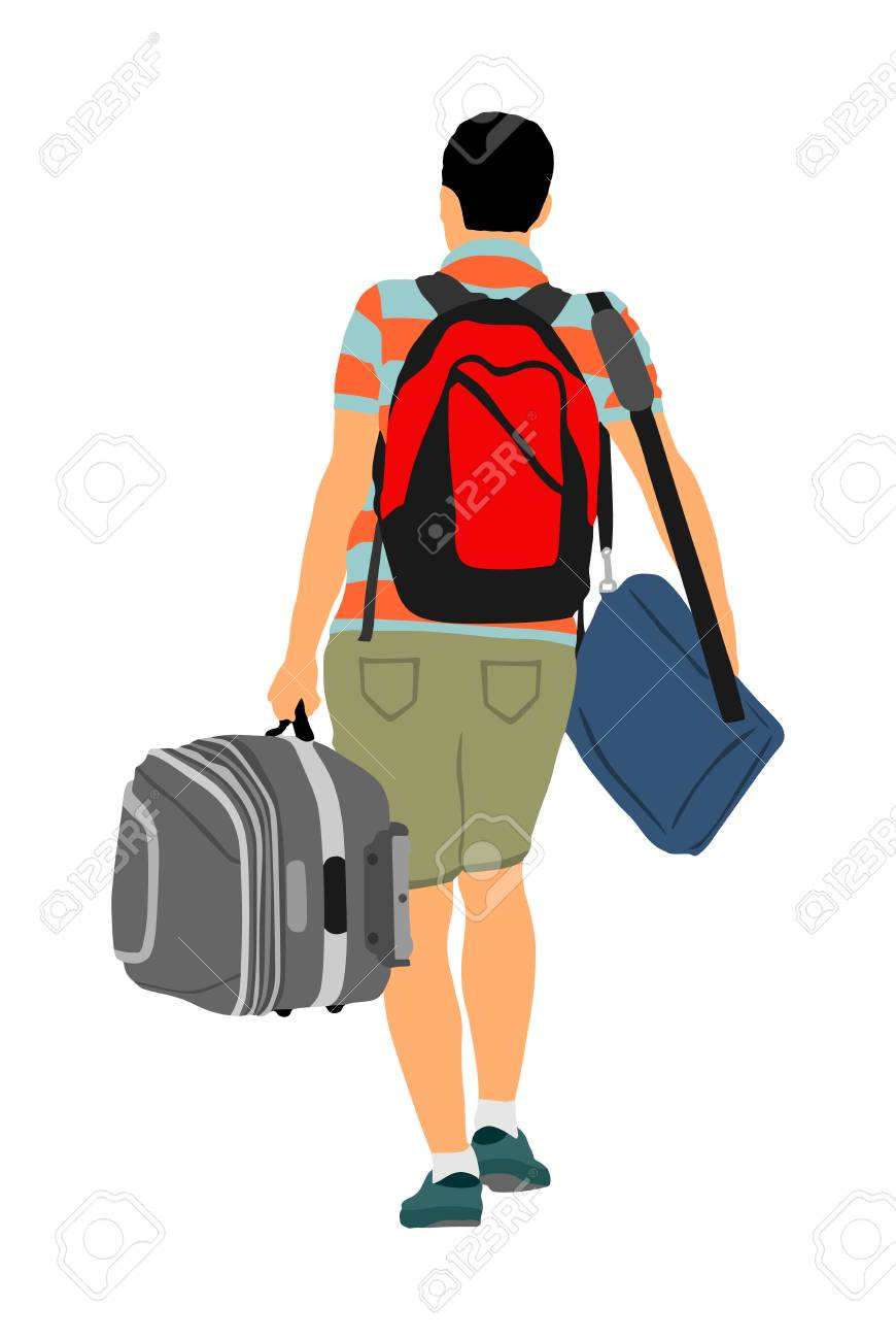 Passenger man with luggage walking to airport vector illustration