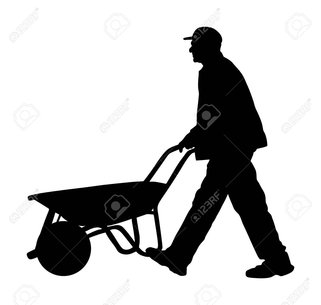 A Man Pushing A Wheelbarrow Full Of Dirt - Royalty Free Clipart Picture