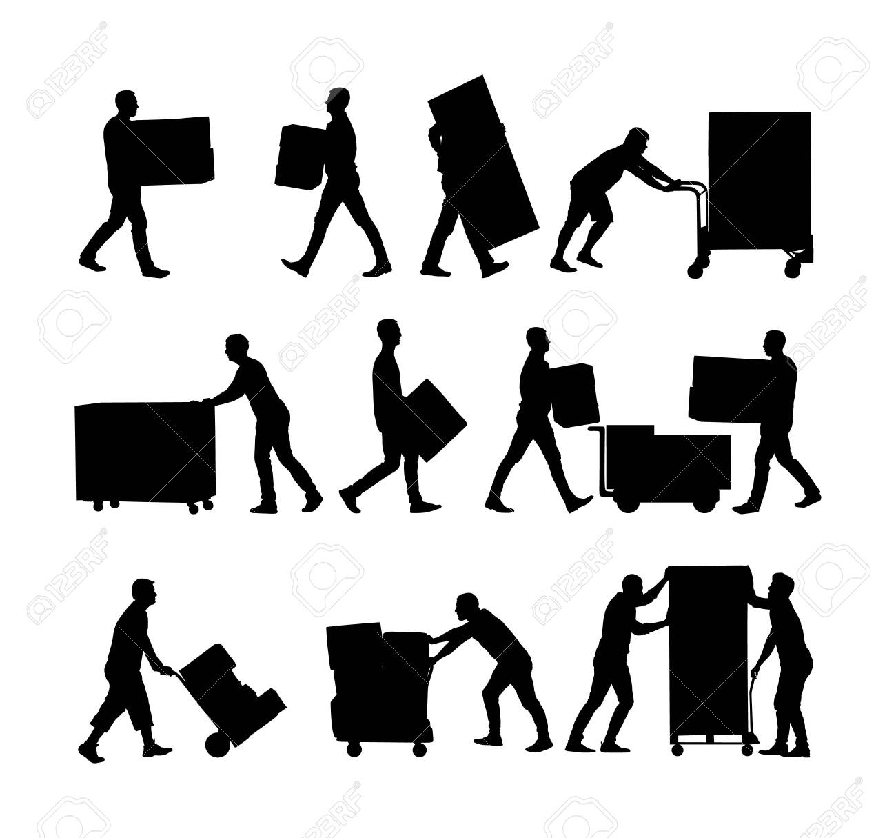 Delivery man carrying boxes of goods vector silhouette. Post man with package. Distribution procurement. Boy holding heavy load for moving service. Handy man in move action. Hand transportation method - 123770169