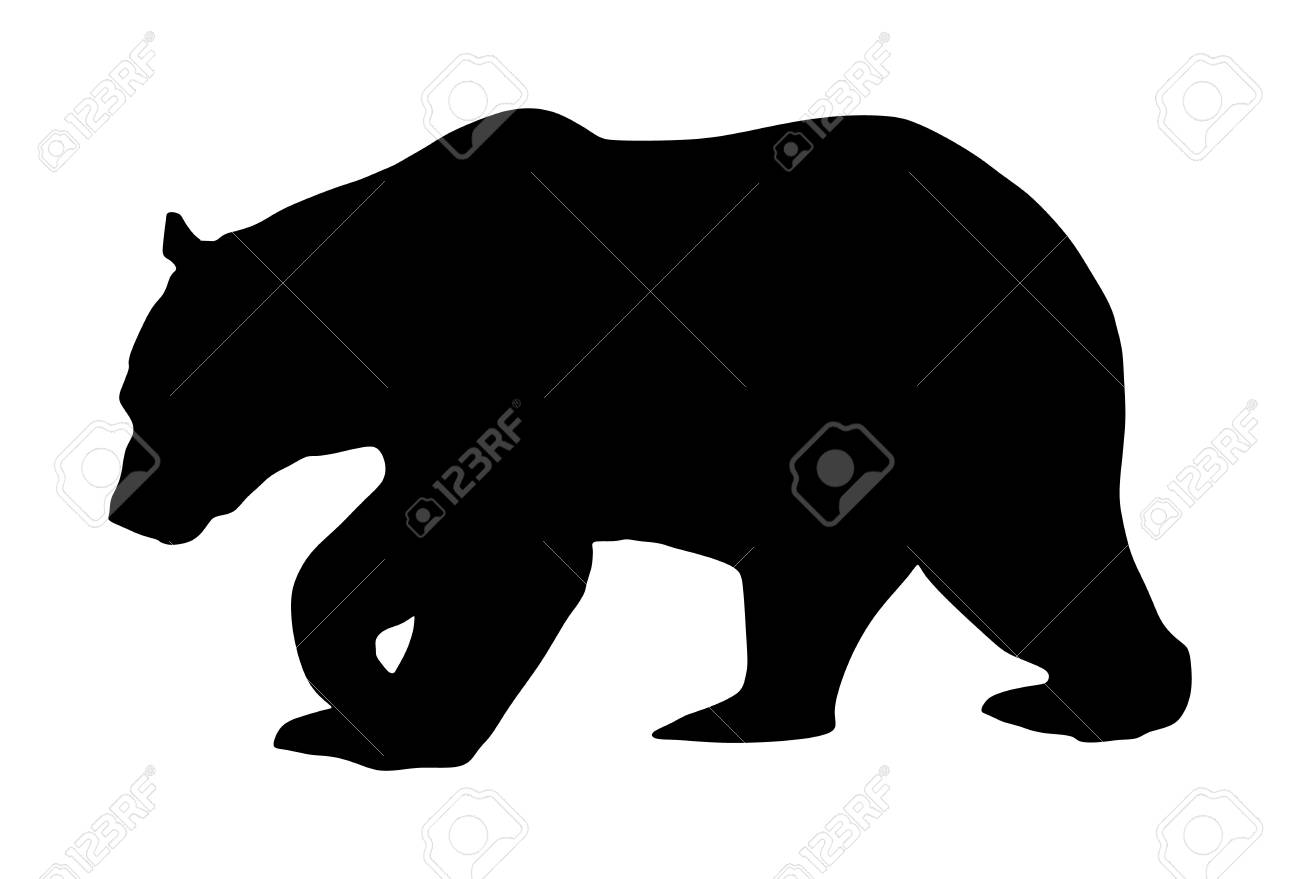 Bear vector silhouette illustration isolated on white background. Grizzly symbol. Big animal, nature wildlife concept. - 121527872