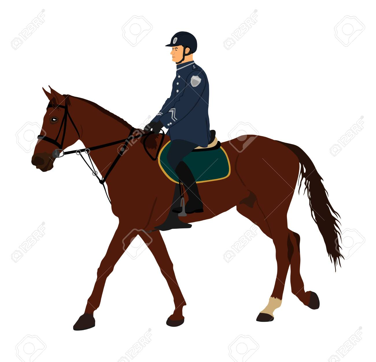 Elegant Horse With Jockey Vector Illustration Isolated On White Royalty Free Cliparts Vectors And Stock Illustration Image 129274149