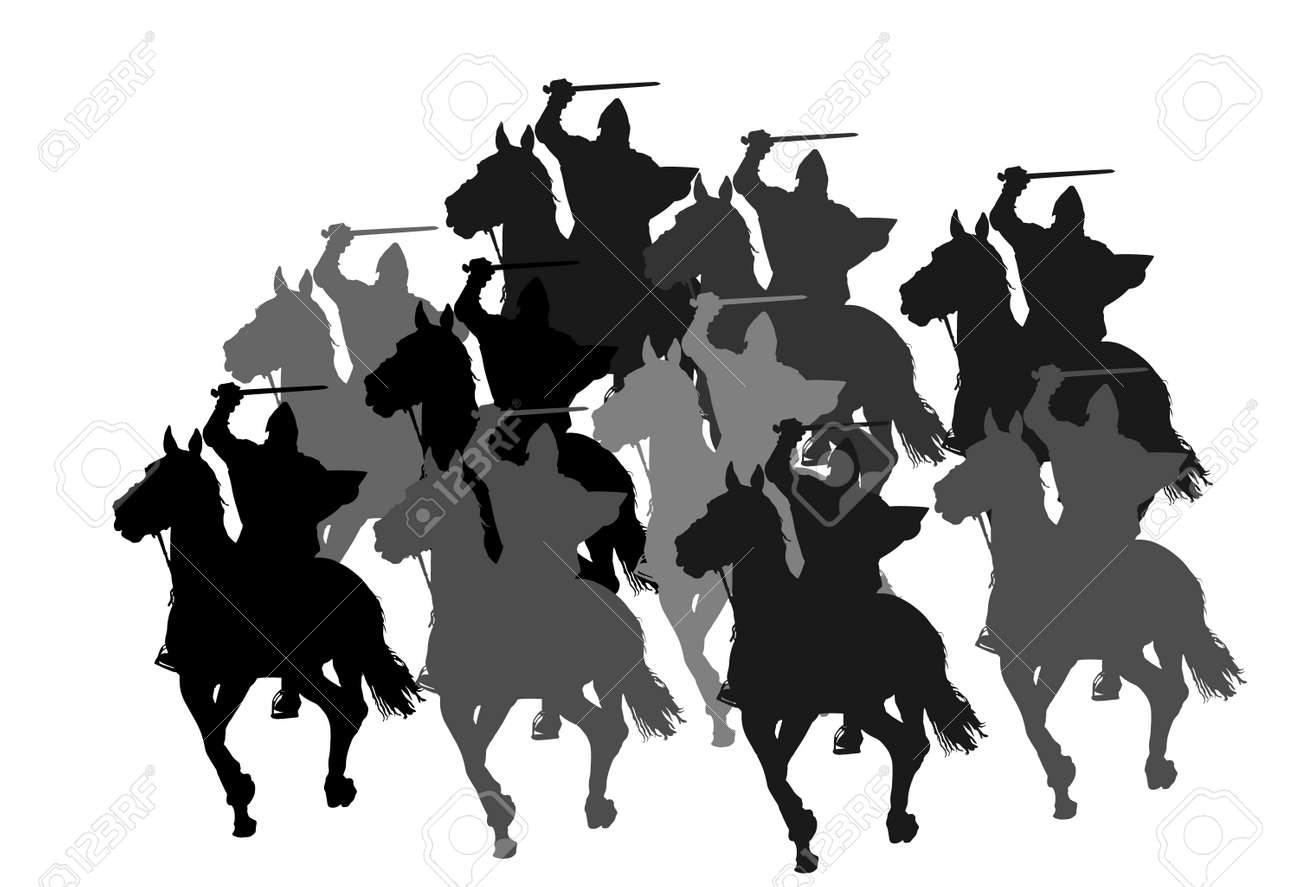 Knight in armor with sword and shield riding horse vector silhouette isolated. Horseman medieval fighter in battle. Cavalryman hero keeps castle walls. Armed man defends country against enemy. - 171987886