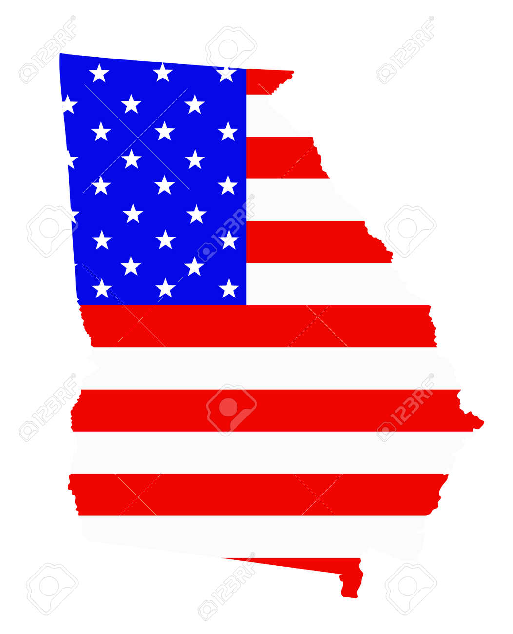 Georgia state map vector silhouette illustration. United States of America flag over Georgia map. USA, American national symbol of pride and patriotism. Vote election campaign banner. - 172749400