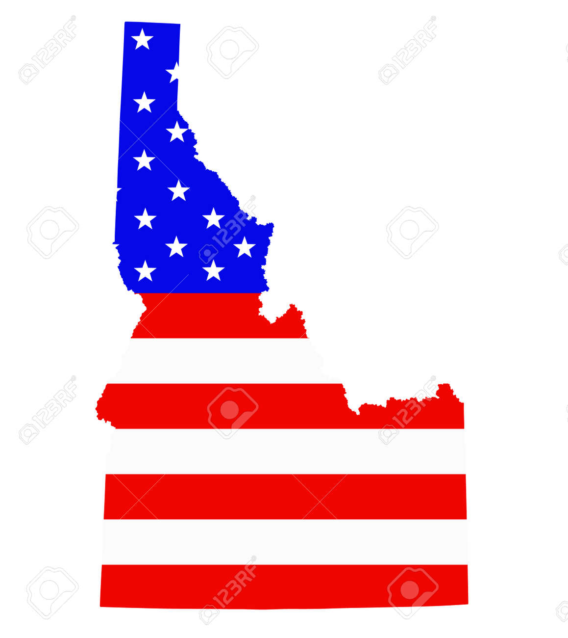 Idaho state map vector silhouette illustration. United States of America flag over Idaho map. USA, American national symbol of pride and patriotism. Vote election campaign banner. - 172749142