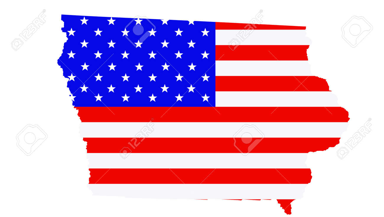 Iowa state map vector silhouette illustration. United States of America flag over Iowa map. USA, American national symbol of pride and patriotism. Vote election campaign banner. - 172749208