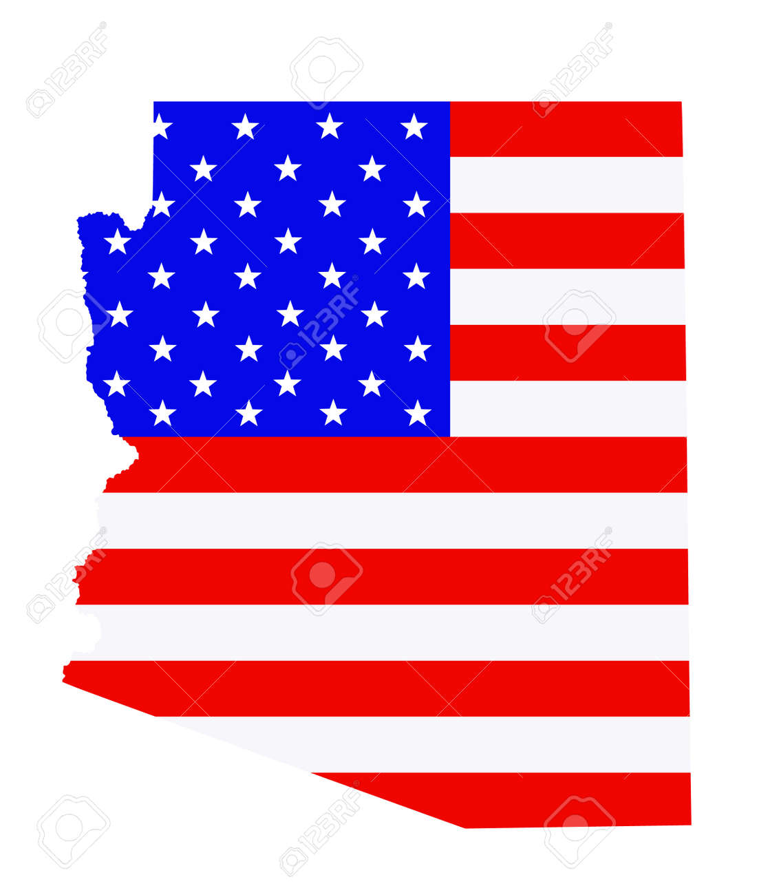 Arizona state map vector silhouette illustration. United States of America flag over Arizona map. USA, American national symbol of pride and patriotism. Vote election campaign banner. - 172749268