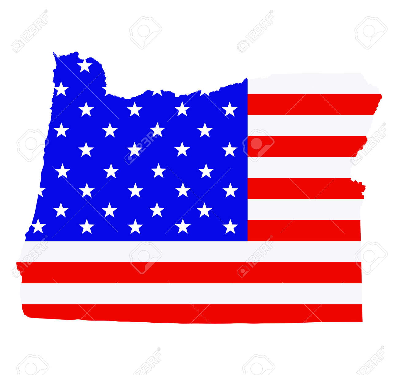Oregon state map vector silhouette illustration. United States of America flag over Oregon map. USA, American national symbol of pride and patriotism. Vote election campaign banner. - 172749315