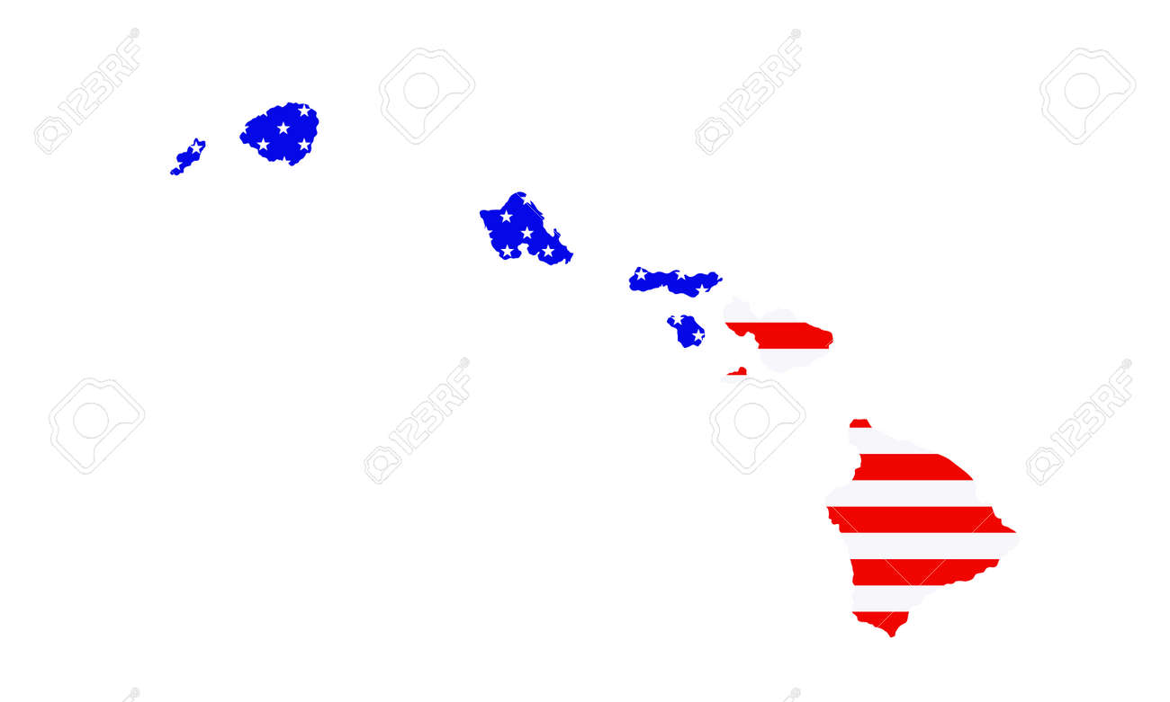 Hawaii state map vector silhouette illustration. United States of America flag over Hawaii map. USA, American national symbol of pride and patriotism. Vote election campaign banner. Paradise island. - 173226264