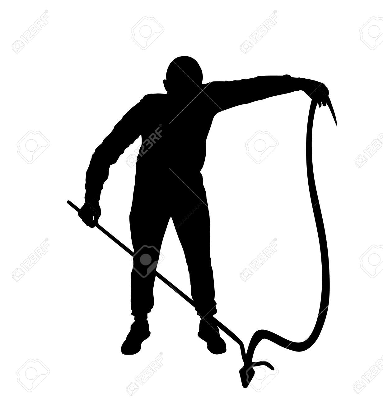 Brave man catching snake with stick vector silhouette illustration isolated on white background. Poison snake control. Deadly venom snake serpent catch for medicine pharmacy. Removal danger intruder. - 172748879