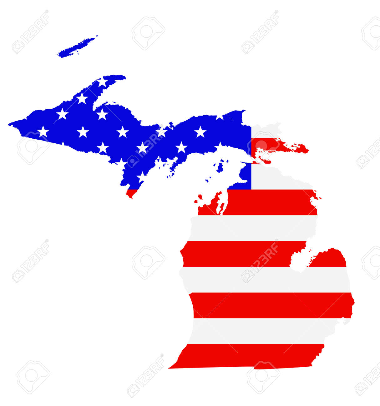 Michigan state map vector silhouette illustration. United States of America flag over Michigan map. USA, American national symbol of pride and patriotism. Vote election campaign banner. - 172749406