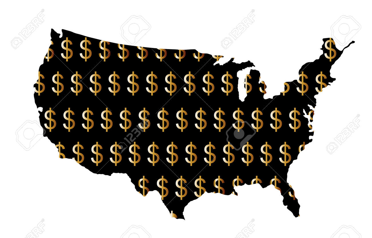 Gold Dollar sign shameless over USA map vector silhouette illustration isolated on white background. United States of America map with dollar symbol. Strong and powerful economy. Trust and credibility - 173060138