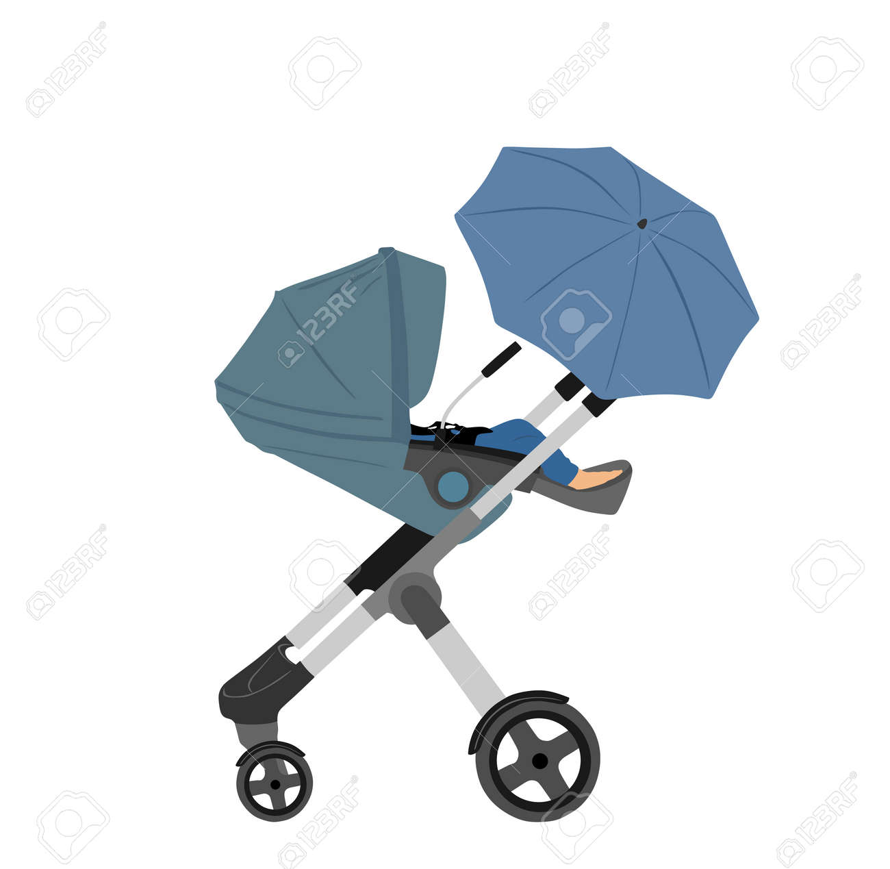 Transportation Little baby in pram vector illustration isolated on white background. New born baby in carriage. Toddler cart. Child in baby stroller, trolley. happy family with newborn son or daughter - 173060173